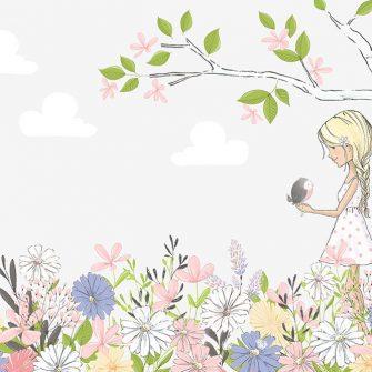 Fototapeta dziewczynka i kwiaty