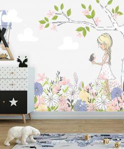 Tapeta na ścianę z motywem kwiatów