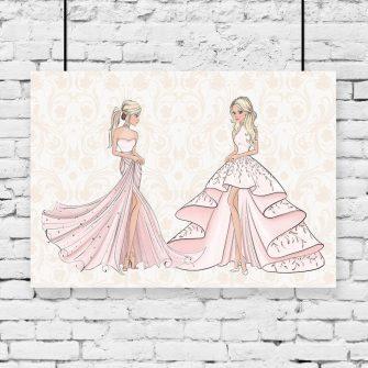 Plakat dwie księżniczki w sukniach