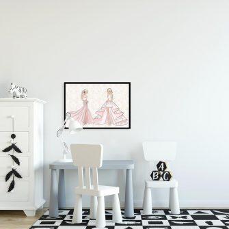 Plakat z rysunkiem kobiet w sukniach