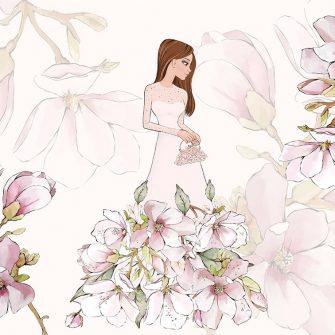 Tapeta kwiaty i lalka