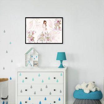 Plakat kwiaty magnolii i kobieta