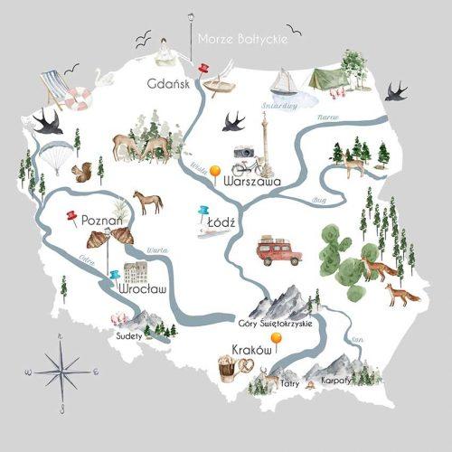 Dziecięca tapeta z mapą Polski
