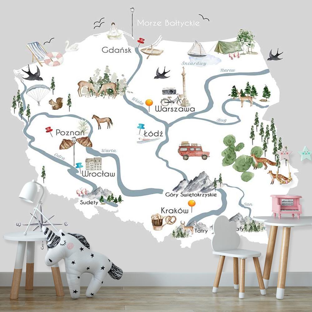 Tapeta na ścianę z motywem mapy