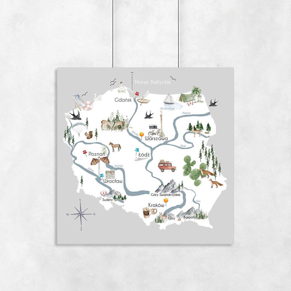 Plakaty dla dzieci mapa Polski