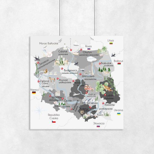 Plakat z polską mapą