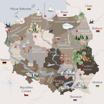 Fototapeta z mapą Polski