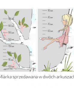 Miarka wzrostu dziewczynka na huśtawce