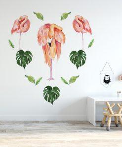 naklejka tropikalna flaming różowy