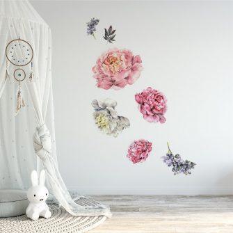 naklejka kwiaty w pokoju dziecięcym