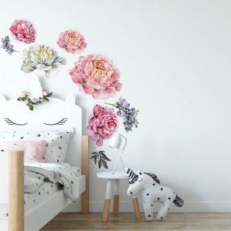 naklejka kwiat piwonii do pokoju dziecięcego