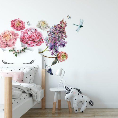 naklejka kwiaty i ważka