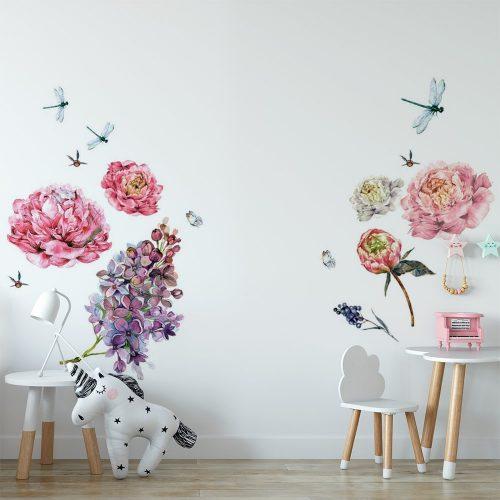 naklejka kwiaty i ważka jako ozdoba