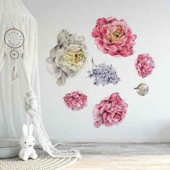naklejka kwiatki piwonii
