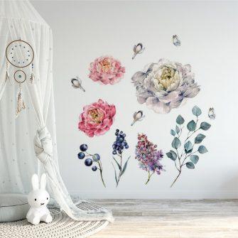 naklejka kwiaty i bez w pokoju dziecka