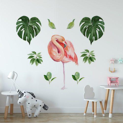 naklejka tropikalny flaming i liście palmy do pokoju dziecka