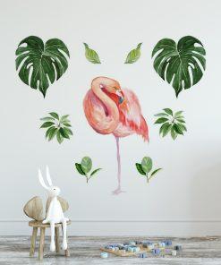 naklejka tropikalny flaming i liście palmy