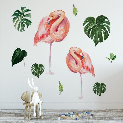 naklejka flamingi w tropikach