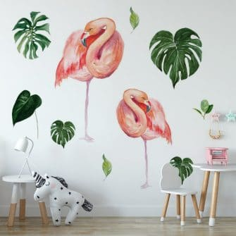 naklejka tropikalne flamingi