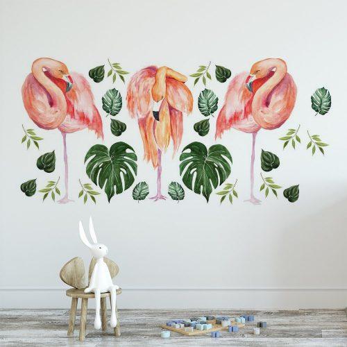 naklejka z różowymi flamingami