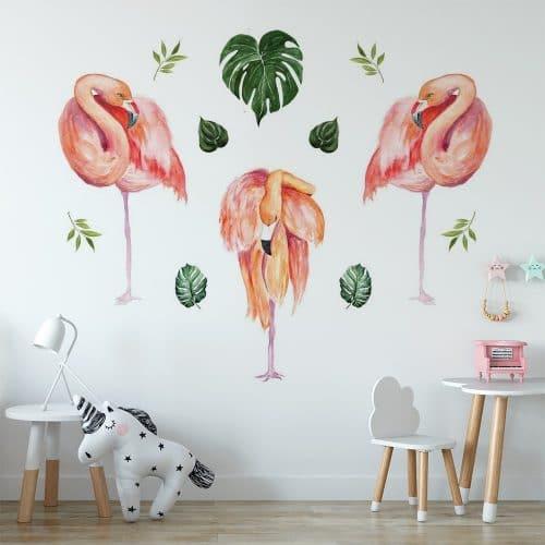 naklejka tropikalne flamingi w pokoju dziecięcym