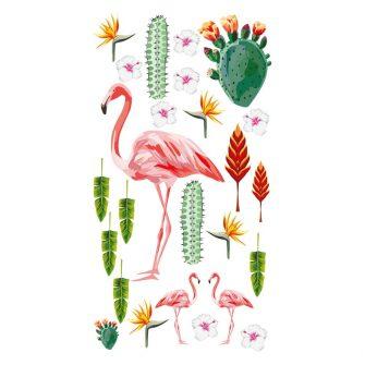 naklejka z kwiatami tropikalnymi i flamingiem