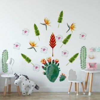 naklejka z tropikalnym motywem na ścianie dla dziecka