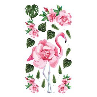 naklejka kwiaty róż i flaming