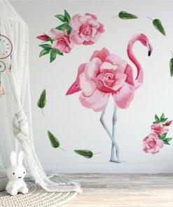 naklejka kwiatowy flaming do pokoju dziecka