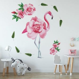 naklejka z różami i flamingiem