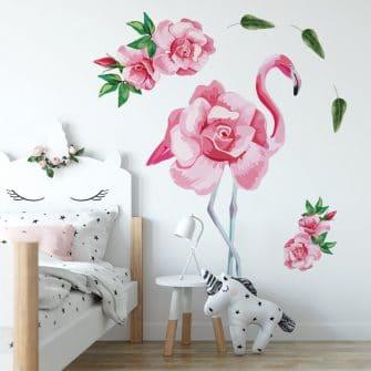 naklejka z kwiatami i flamingiem