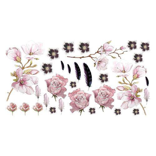 naklejka magnolia i róże do pokoju dziecka