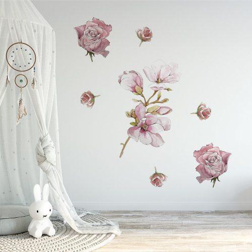 naklejka magnolia i róże