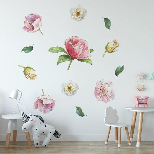 naklejka z kwiatami róż do dziecięcego pokoju