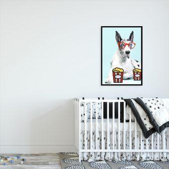 plakat psa w okularach w pokoju dziecięcym