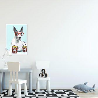 plakat psa w czerwonych okularach