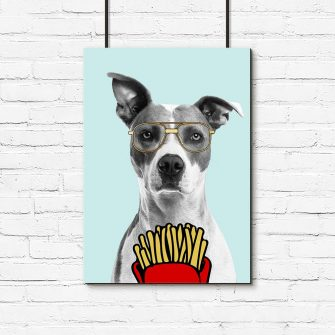 plakat pies w okularach z frytkami