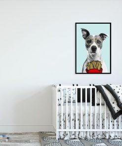 plakat psa buldoga w okularach