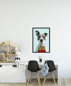 plakat śmiesznego psa nad stolik