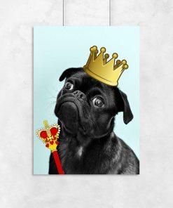 plakat zabawny pies w koronie z berłem