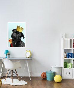 plakat zabawny pies w koronie i berło