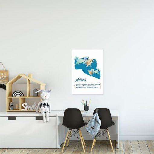 Plakat niebieski z genezą imienia dziecka