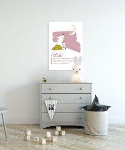 plakat różowy z genezą imienia dziecka