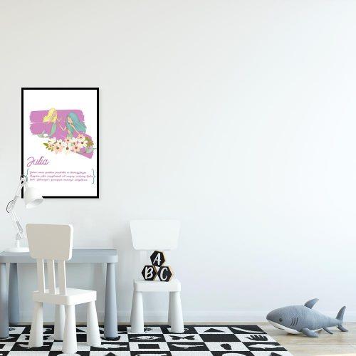 plakat różowy z syrenkami