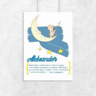 plakat niebieski z imieniem dziecka