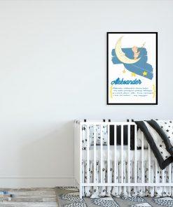 niebieski plakat z imieniem chłopca