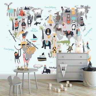 fototapeta zwierzęta na mapie świata