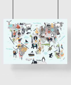dziecięcy plakat z mapą świata