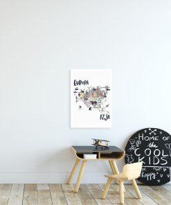 plakat szary z mapą europy i azji