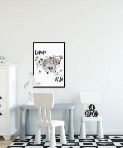 plakat z motywem kontynentu i zwierząt